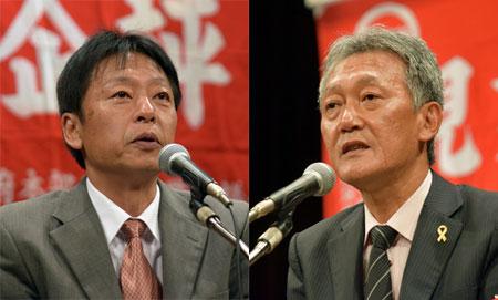 (右)ヤマ場にむけたたかいの決意を述べる 西川現業評議会議長(左)蓮元公営企業評議会議長